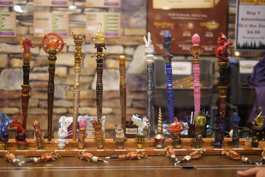 """Great Wolf Lodge wands lined up on the counter.