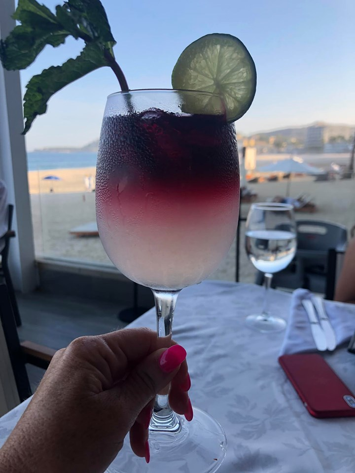 Glass of sangria from Grill at Reflect Krystal in Cabo.   Cabo, Mexico- The Best All Inclusive Vacation
