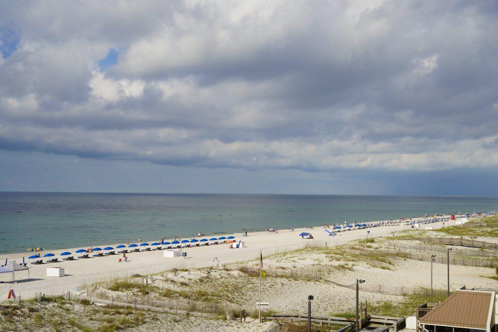 View of the beach at Gulf Shores.  Guide to Gulf Shores & Orange Beach Alabama