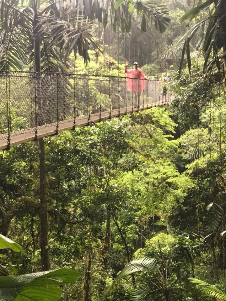 People standing on the hanging bridges at La Fortuna Waterfall in Costa Rica.   Costa Rica, Arenal Volcano