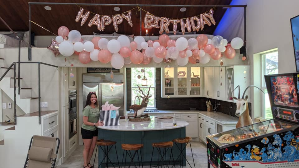 Decorated room for a birthday celebration.| Adult Summer Vacation on Lake LBJ