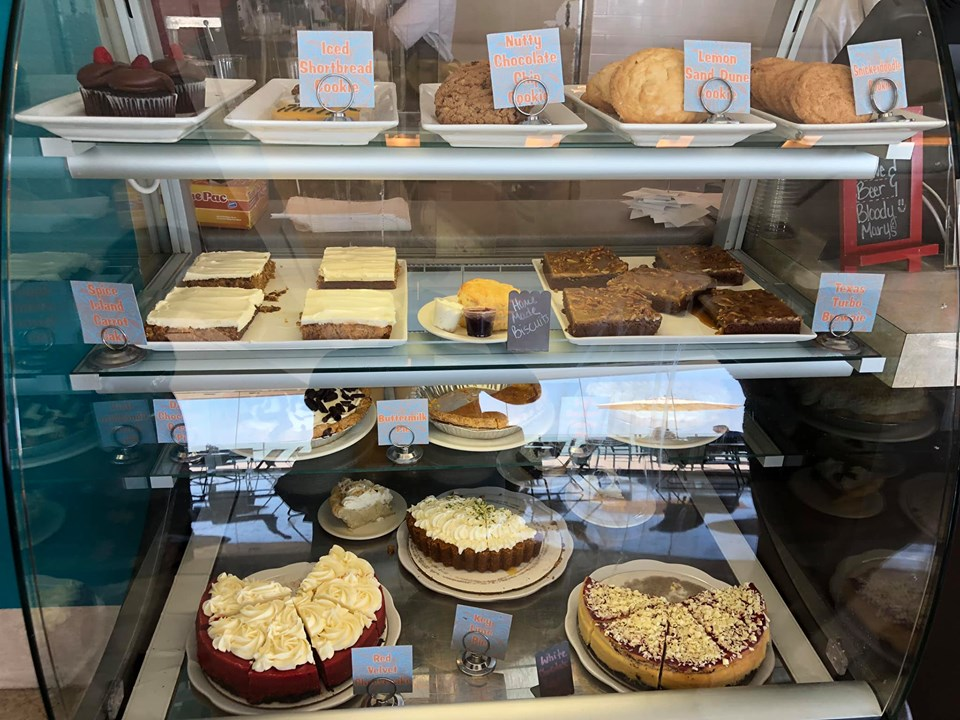 Dessert display at Hester's Cafe in the Art Museum in Corpus Christi.   Corpus Christi Bachelorette Weekend