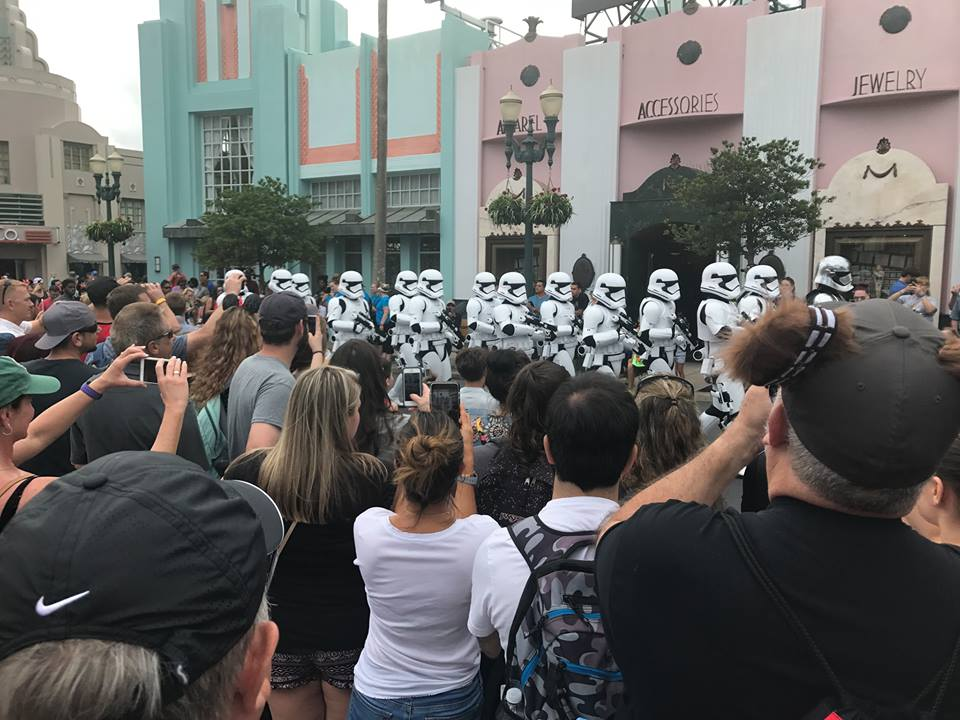 Parade of storm troopers in Hollywood Studios in Disney World.   Celebrating A Wedding Anniversary at Walt Disney World