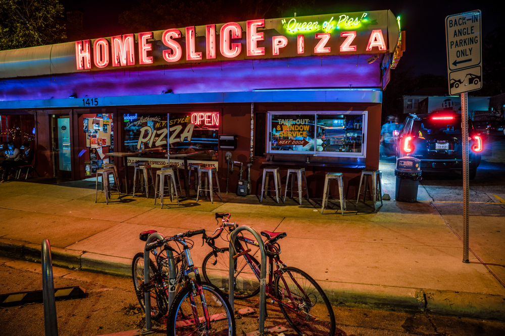 View of outside of Home Slice Pizza restaurant in Austin.  Weekend Guide to Austin, Texas