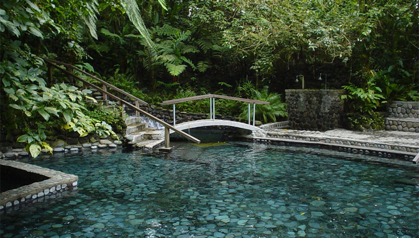 View of the hot springs at the Lava Fields Walk and Ecotermales Hot Springs in Costa Rica.   Costa Rica, Arenal Volcano