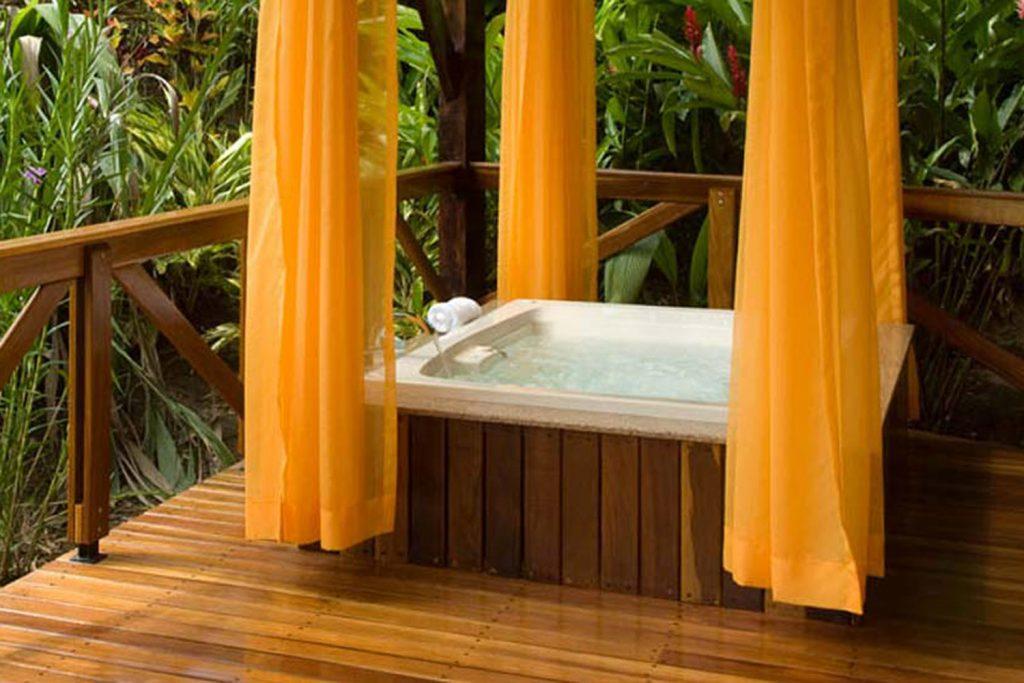 Hot tub at the Villas at Nayara Spa and Gardens in La Fortuna.   Costa Rica, Arenal Volcano