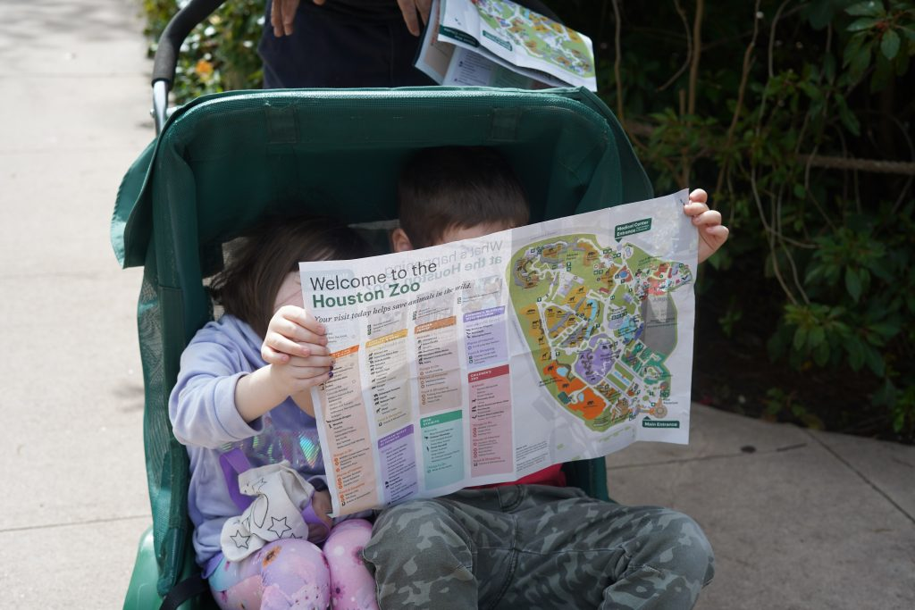 Little kids sitting in rented stroller looking at a map at the zoo. | The Houston Zoo