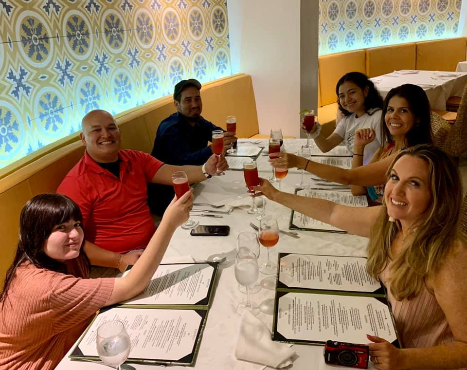 Group of people eating dinner at an Italian Restaurant at Reflect Krystal in Cabo.   Cabo, Mexico- The Best All Inclusive Vacation