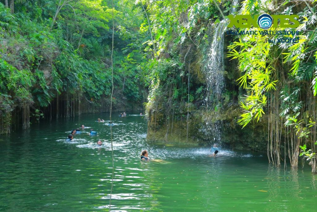 A group of people swimming with a waterfall.   A Guide to Xenotes Water Tours by Xcaret