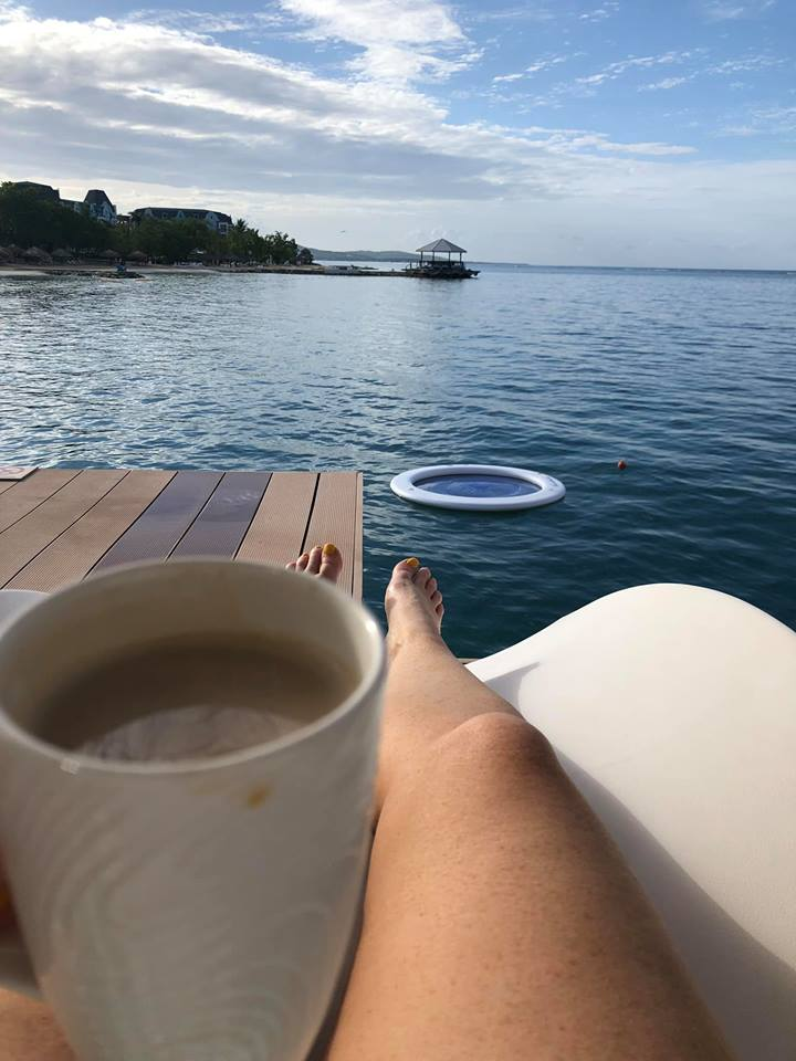 View from over-water bungalow porch in Jamaica.   Jamaica Over-Water-Bungalows