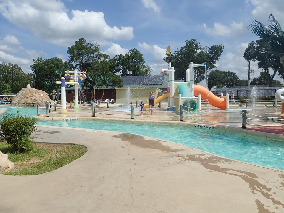 Lazy river at the waterpark at Jellystone in Texas.   Jellystone Park in Waller, Texas