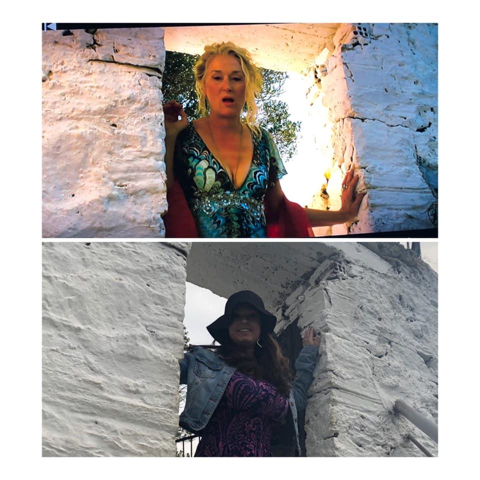 Woman reacting Mamma Mia scene at the Mamma Mia chapel. | Skopelos Island, Greece- Mamma Mia Island