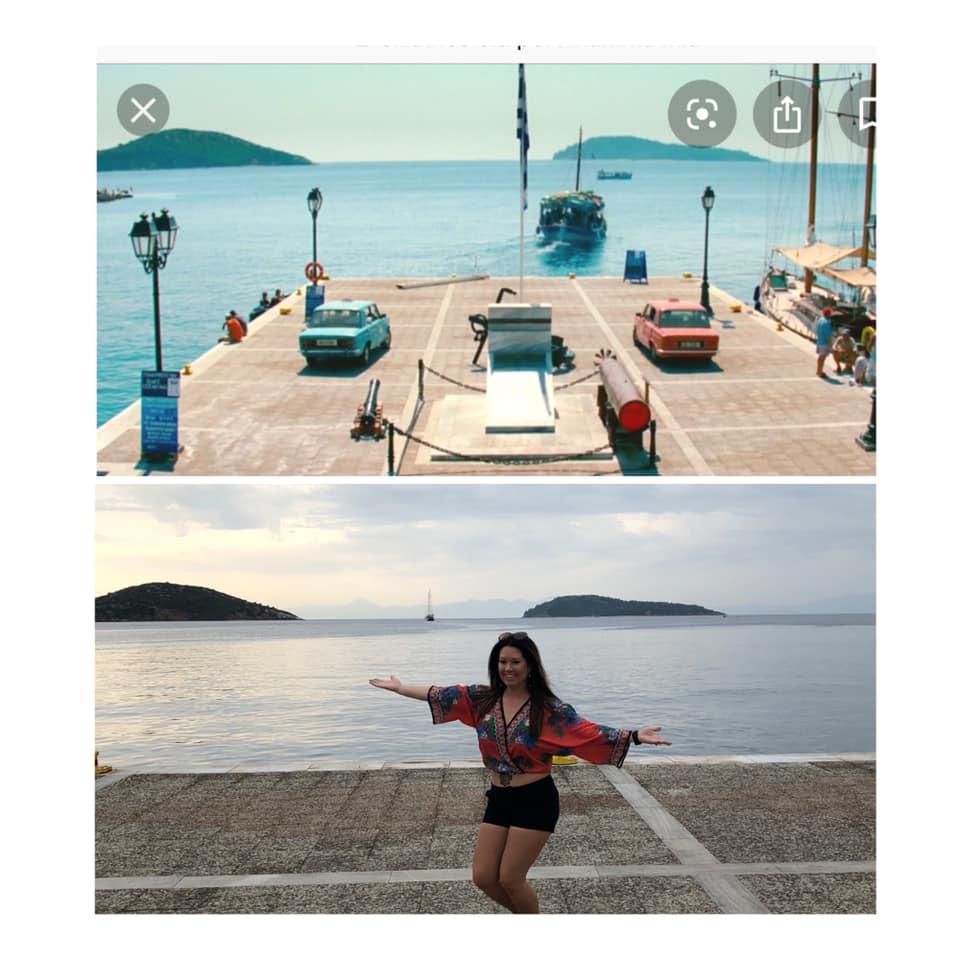Woman posing in famous waterfront spot from Mamma Mia movie on Skiathos Island. | Skopelos Island, Greece- Mamma Mia Island