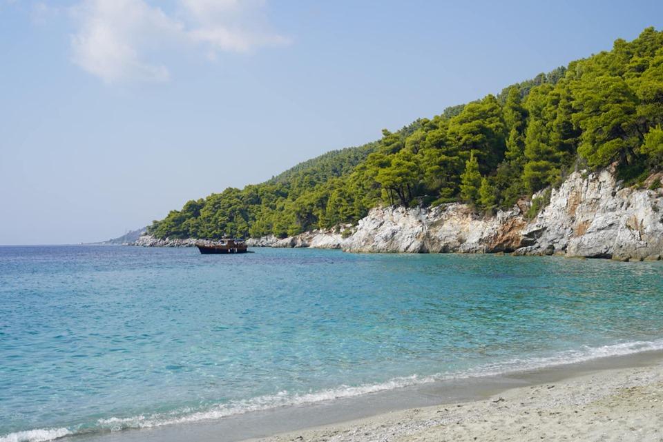 View of the Kastani Beach. | Skopelos Island, Greece- Mamma Mia Island