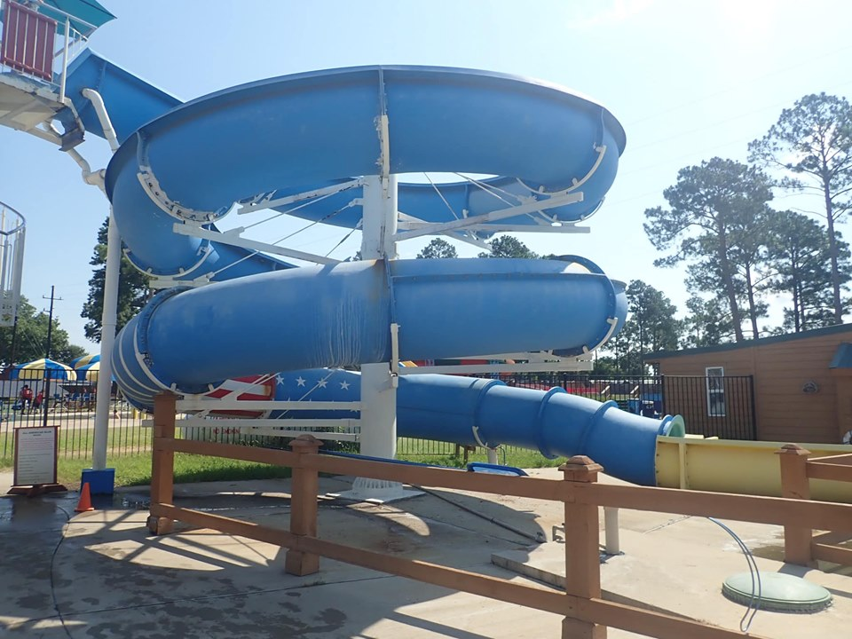 Kids slide at the waterpark at Jellystone in Texas.   Jellystone Park in Waller, Texas