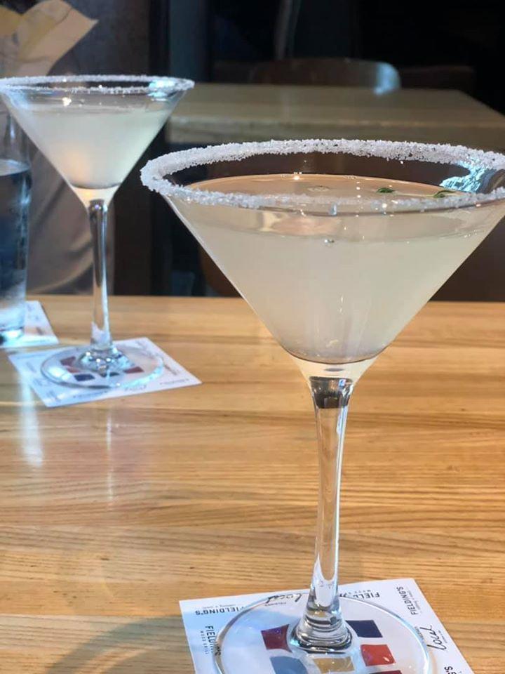 Two Lavender Thyme Lemondrop martinis at Fielding Wood Grill.   Girls Weekend Getaway- Woodlands, TX
