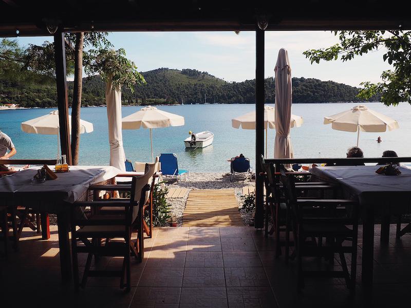 Indoor view at Linarakia restaurant in Port Town in Greece.| Skopelos Island, Greece- Mamma Mia Island