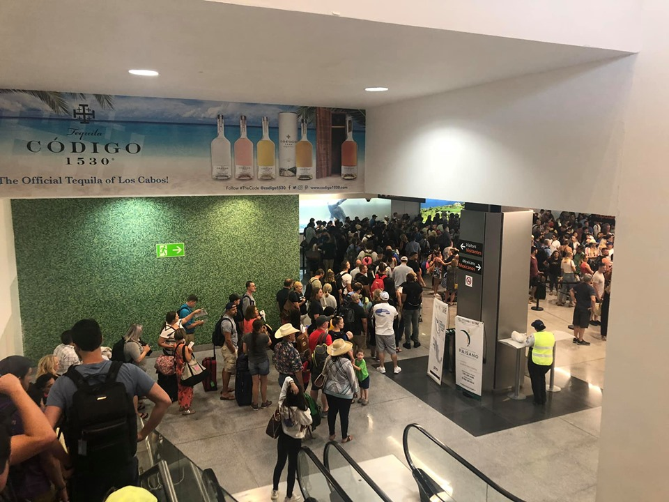 Lines of people at San Jose Airport in Cabo.   Cabo, Mexico- The Best All Inclusive Vacation