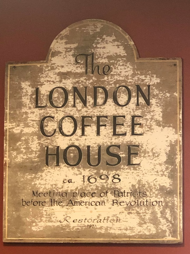The sign for The London Coffee House in Salem. | What to do in Salem, MA