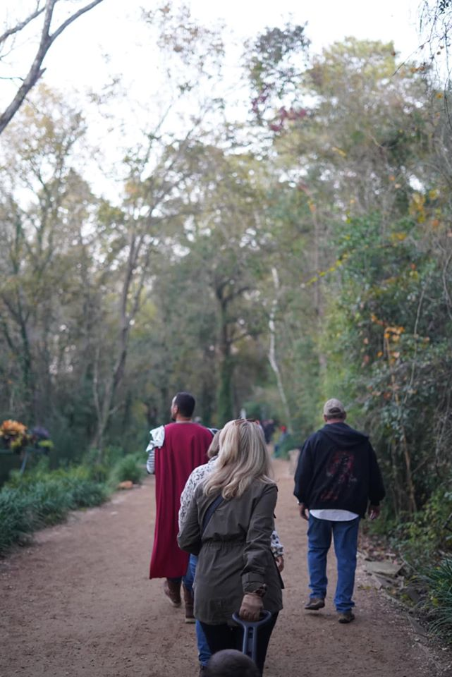 People walking on the trail to the Magical Gardens. | Texas Renaissance Festival