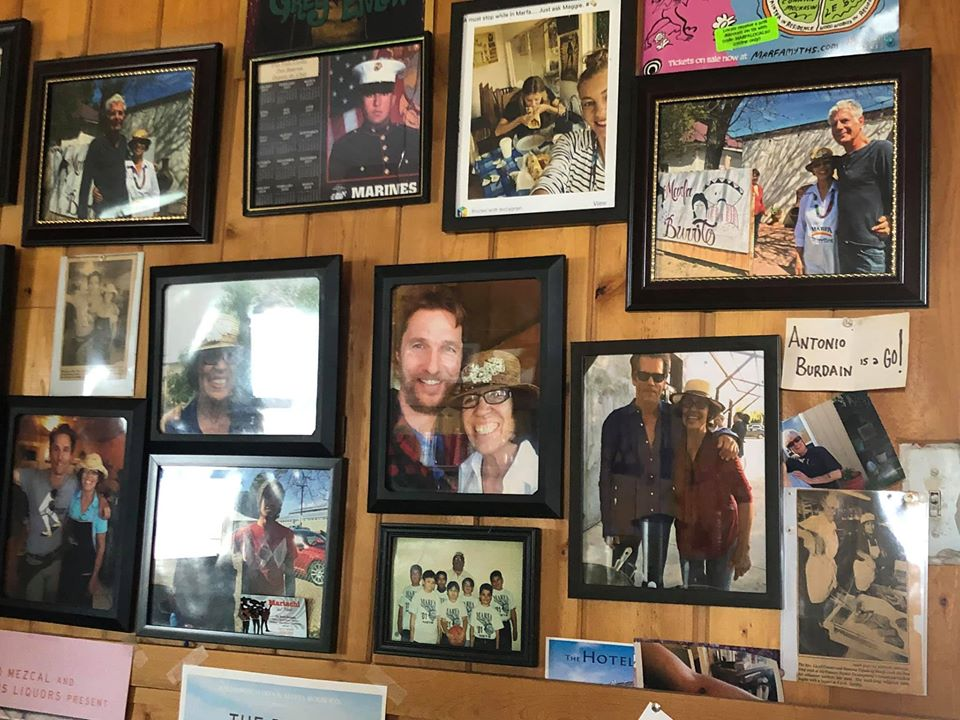 Photo wall in Marfa Burrito restaurant in Marfa. | Marfa, Texas- Where to Stay, What to do, & What to Eat