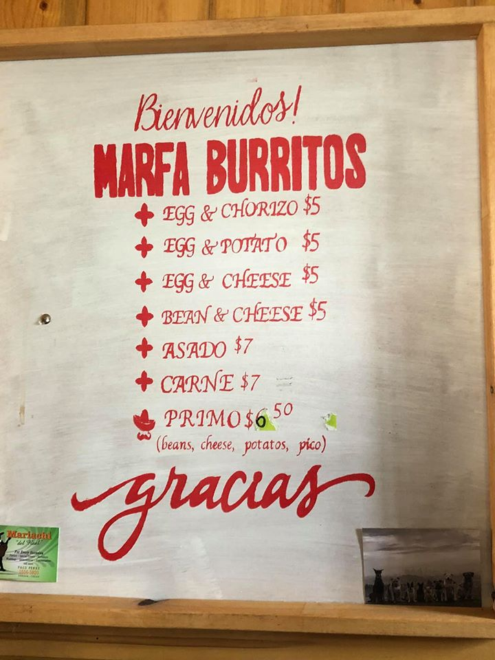 Menu at Marfa Burrito restaurant in Marfa. | Marfa, Texas- Where to Stay, What to do, & What to Eat