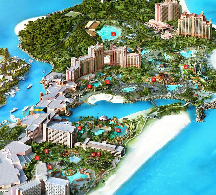 Map of the Atlantis resort.   Atlantis, Bahamas