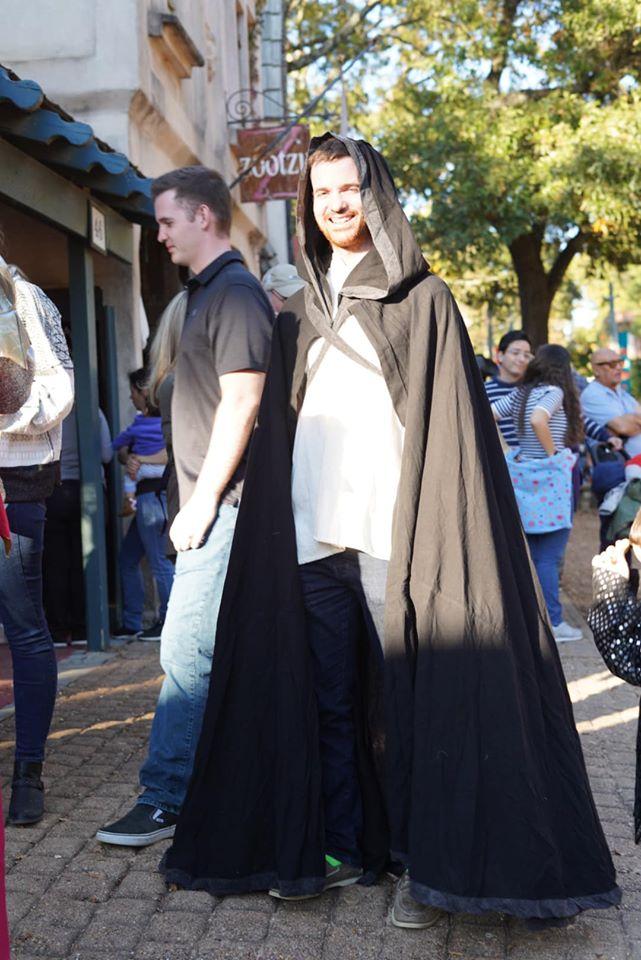 Man dressed costume on the street.| Texas Renaissance Festival
