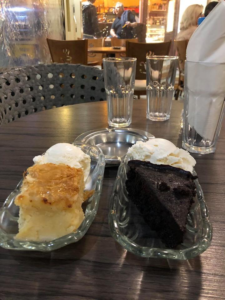 Plate of milk cake (Galaktoboureko) from  International Cafe restaurant in Greece.| Skopelos Island, Greece- Mamma Mia Island