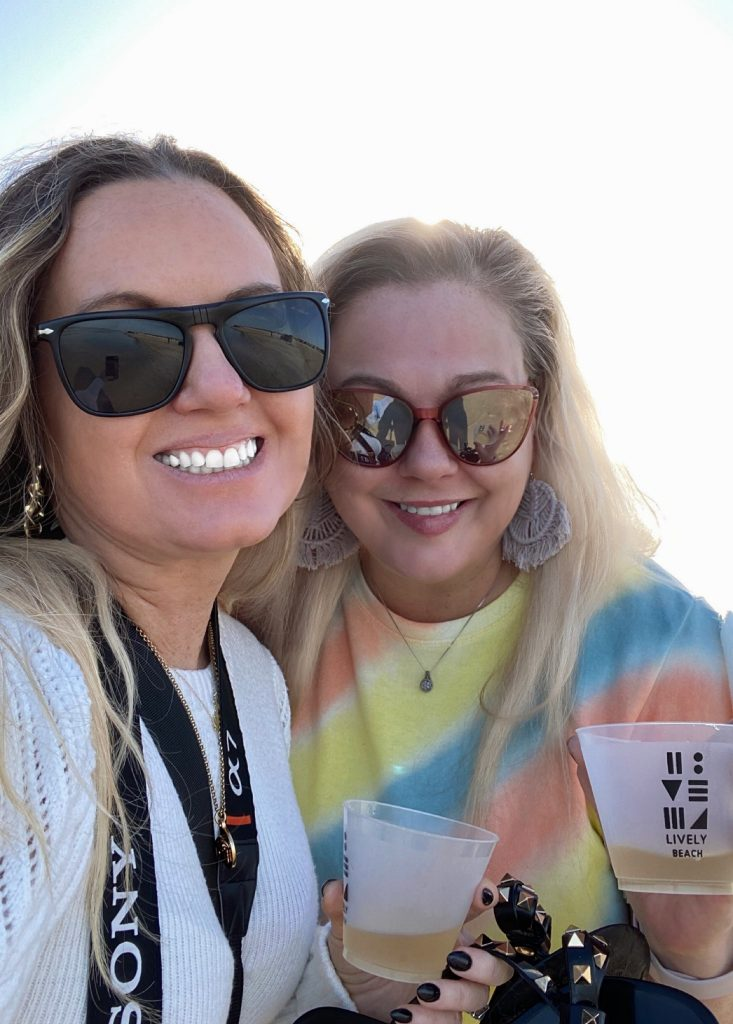 Two women smiling and taking a selfie outside.| Lively Beach in Corpus Christi, Texas