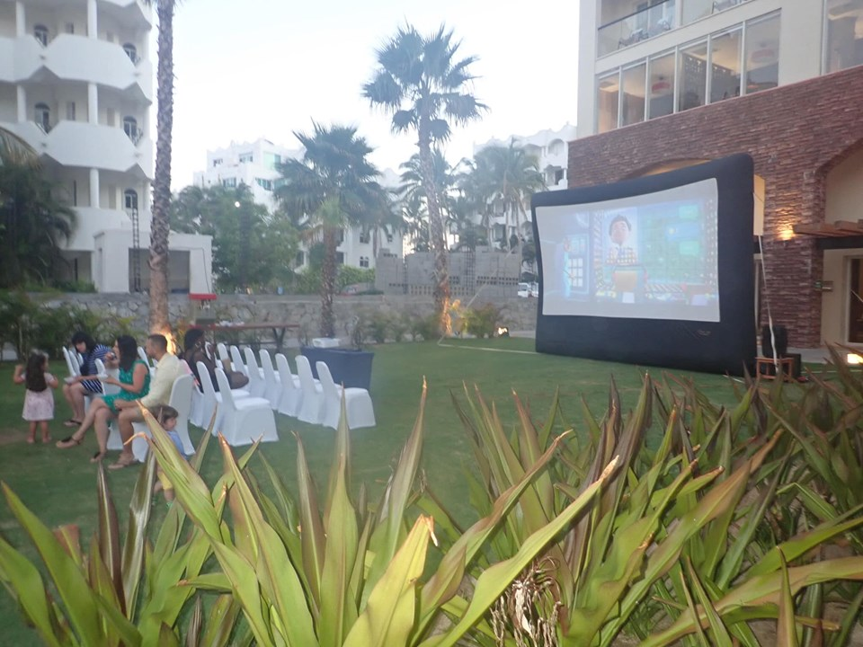Outdoor movie night at Reflect Krystal in Cabo.   Cabo, Mexico- The Best All Inclusive Vacation