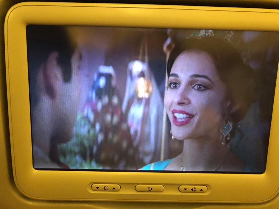 Movie playing on the flight with British Airways. | Skopelos Island, Greece- Mamma Mia Island