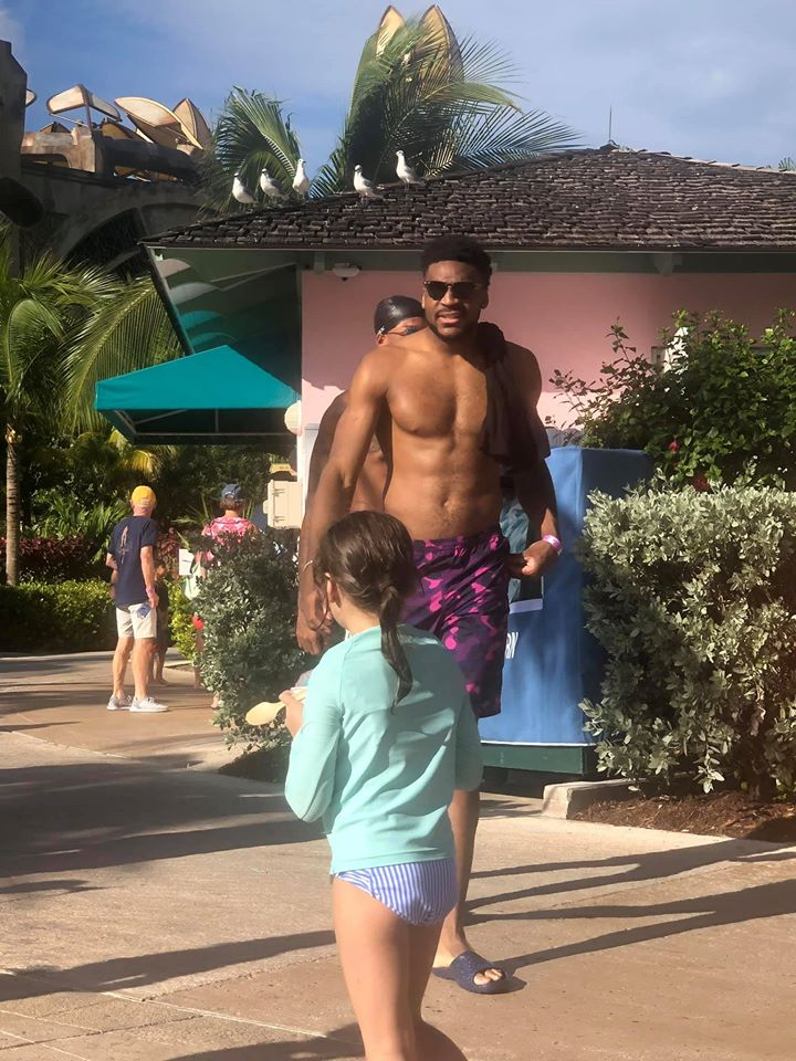 North Carolina basketball players in the pool area at Atlantis resort.   Atlantis, Bahamas