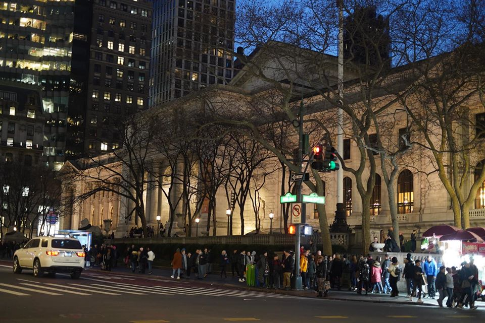 Outside at night at the New York Public Library.   New York City