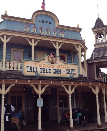 Outside view of Pecos Bill Tall Tale Inn Cafe Saloon at Walt Disney World.   Celebrating A Wedding Anniversary at Walt Disney World