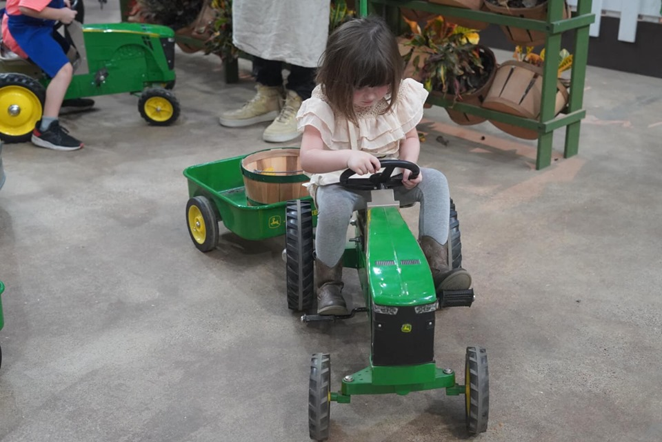 Little girl riding a mini tractor bike in the animal area at the fair. | State Fair of Texas-Dallas