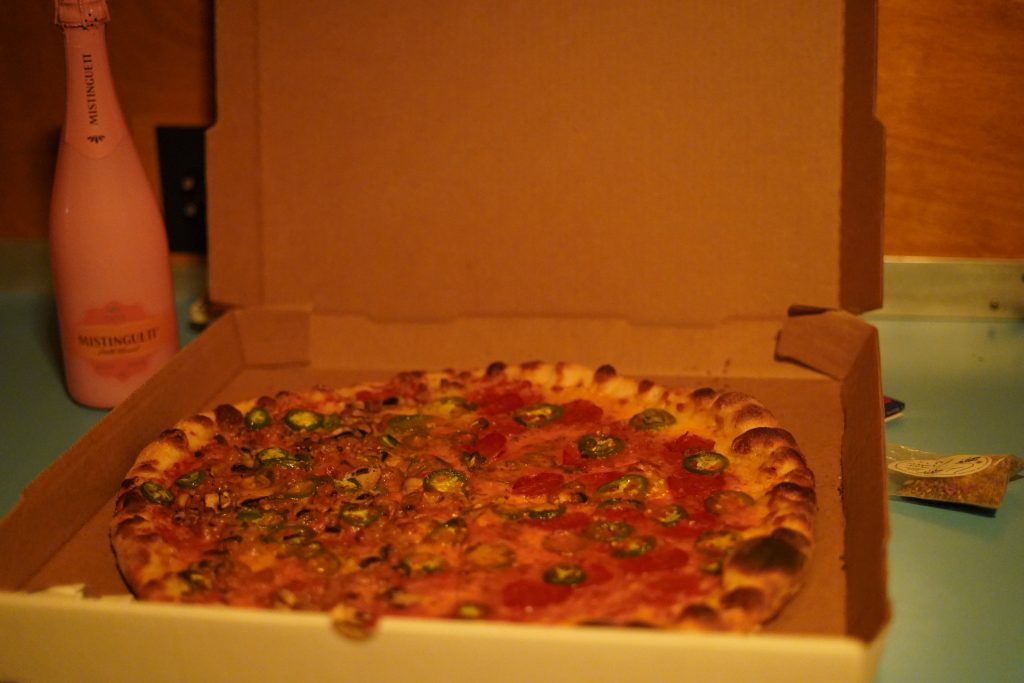Pizza Foundation restaurant box of pizza in Marfa. | Marfa, Texas- Where to Stay, What to do, & What to Eat