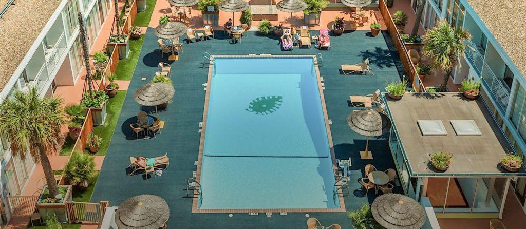 Aerial view on El Tropicano on the Riverwalk Hotel pool and pool deck in San Antonio.   Week in San Antonio, Texas