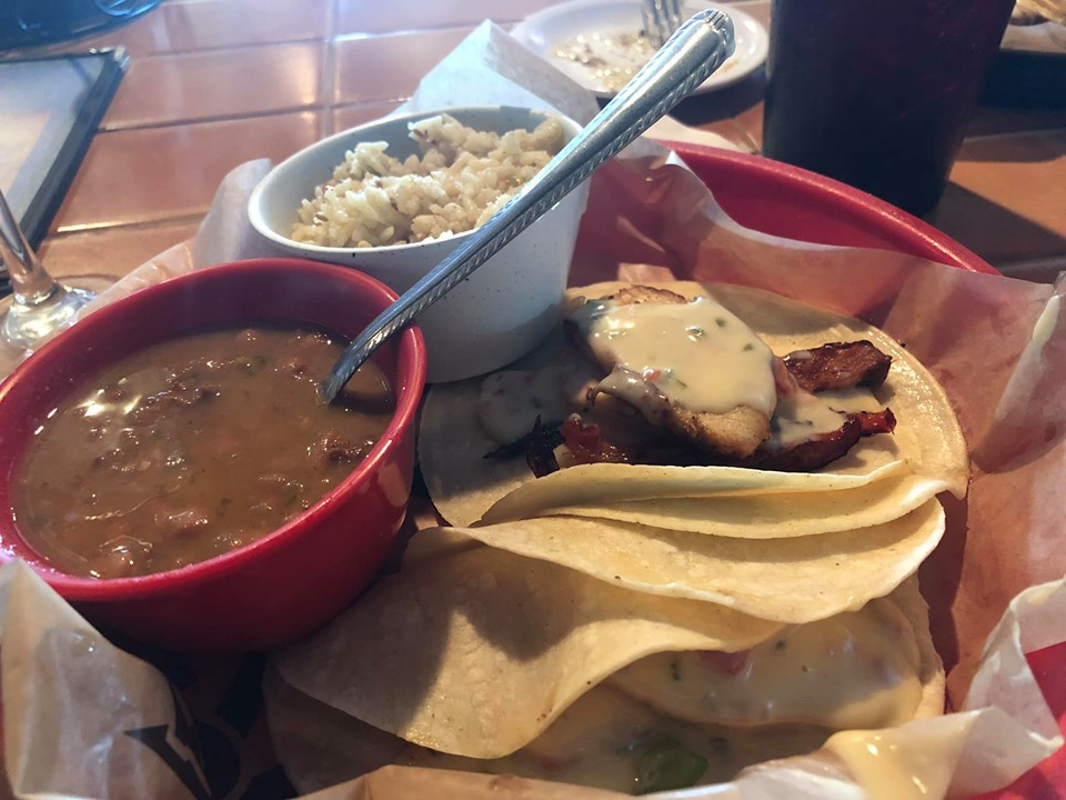Platter of food from Rae's Rbar and Grill at Cypress Valley. | Cypress Valley Canopy Tour in Austin, Texas