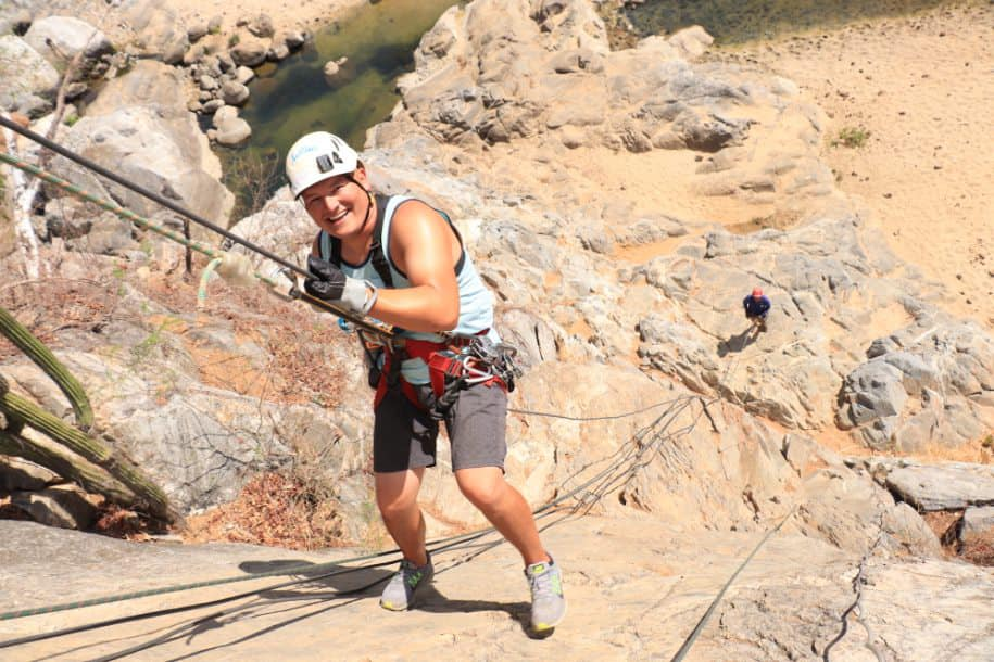 Man ziplining in Cabo.   Cabo, Mexico- The Best All Inclusive Vacation