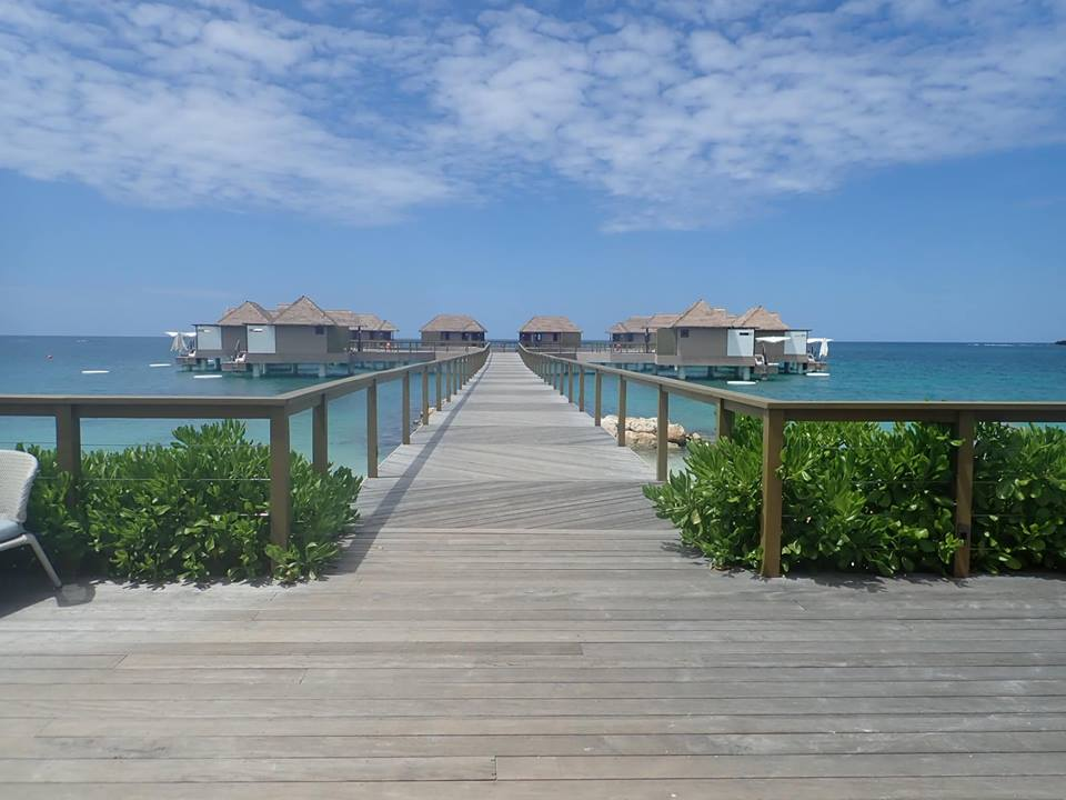 View of Over Water Bungalows in at Sandals resort in Jamaica.   Jamaica Over-Water-Bungalows