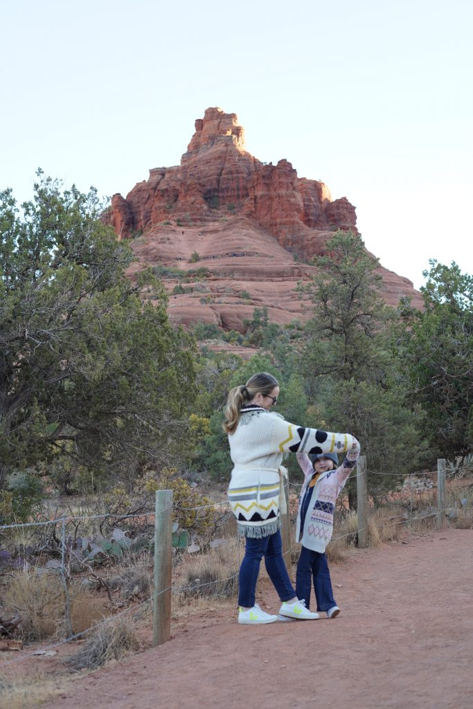 Woman dancing with kid on the path in Sedona. | Arizona Itinerary with Kids