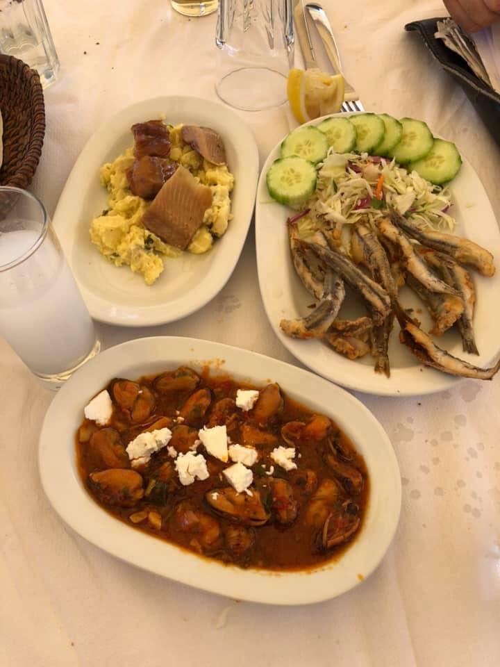 Plates on food at Port on Skiathos Island. | Skopelos Island, Greece- Mamma Mia Island