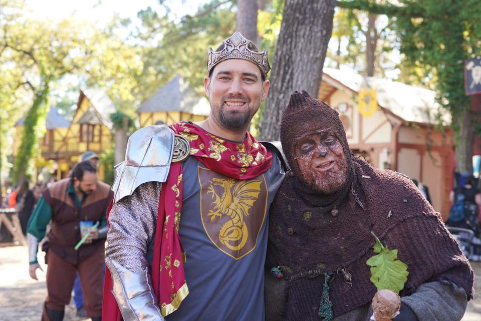 Man posing with Skidmark from Youtube.| Texas Renaissance Festival