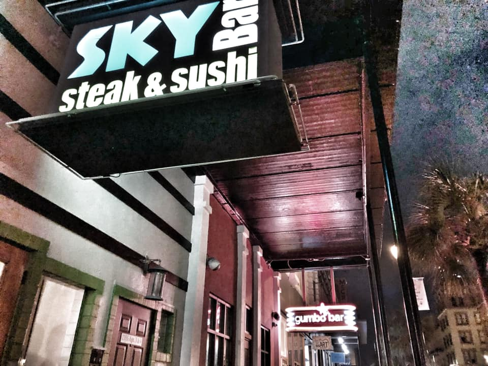 """Outside view of the Sky Bar Steak and Sushi in Galveston.   Adult Weekend in Galveston, Texas; on """"The Strand"""""""