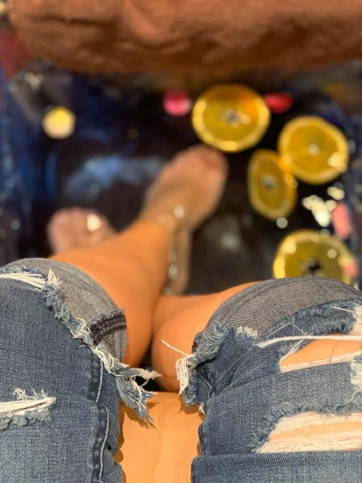 Woman enjoying a pedicure at Venetian Nail Salon, Woodlands, TX.  Girls Weekend Getaway- Woodlands, TX