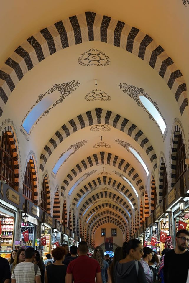 Inside spice market with people shopping. | Istanbul, Turkey