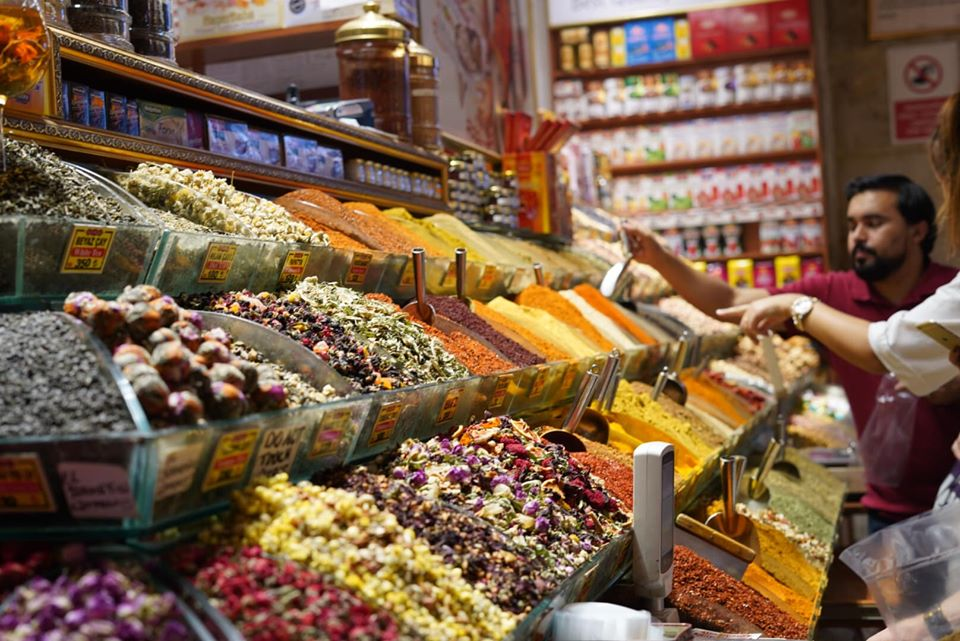 Inside spice market with large displays of spices. | Istanbul, Turkey