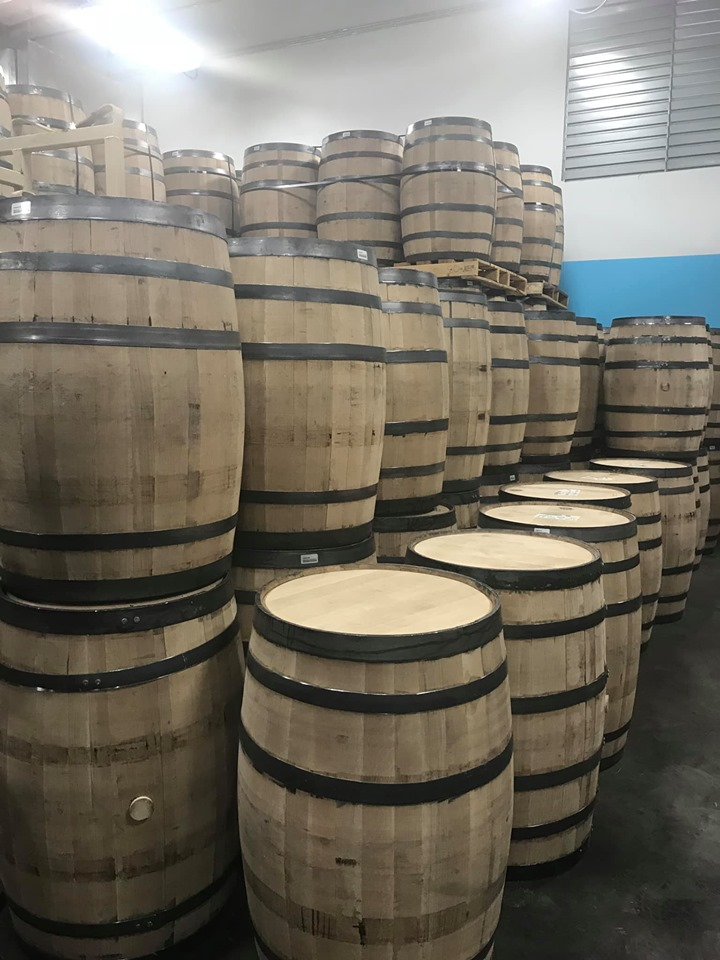 Barrels inside Still Austin Whiskey Company in Austin.  Weekend Guide to Austin, Texas