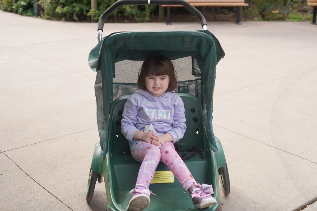 Little girl sitting in rented stroller at the zoo. | The Houston Zoo